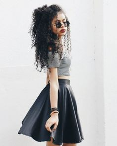 There is 1 tip to buy this skirt: black grunge wishlist curly hair leather skater crop tops striped top round sunglasses. Long Curly Hair, Curly Girl, Curly Hair Styles, Natural Hair Styles, Short Hair, Afro Girl, Girl Hair, Hair Inspo, Naturally Curly