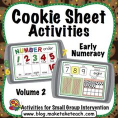 Your students will love practicing math skills on a cookie sheet!  Cookie Sheet Activities Volume 2 contains 3 early math activities designed to be used during small group instruction or as activities within your math centers.  Each activity is differentiated.