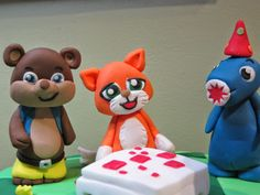Minecraft Party - Mr. Stampy Cat, LforLee and iBallistic Squid on a cake :-)