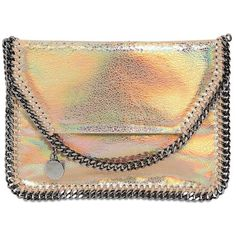 Stella Mccartney Women Holographic Faux Leather Shoulder Bag found on Polyvore featuring polyvore, women's fashion, bags, handbags, shoulder bags, bolsos, crossbody bags, gold, shoulder bag purse and shoulder handbags