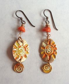 Bronze Clay Charms Patinated with Hot summer Colours. With Orange Coral Beads hung on Niobium Ear Wires These say how I was on the Day I made them, Frazzled! +30 04/08/13
