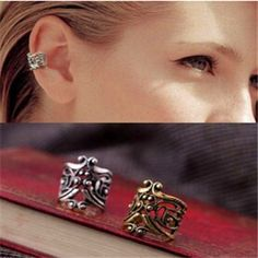 e034   New Punk Rock Ear Clip Cuff Earrings No piercing-Clip on Silver plated  Women Men Party Jewelry Cheap Free Ship