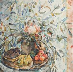 Watercolor Autum Leaves, Painting Still Life, Watercolor, Artist, Watercolor Painting, Pen And Wash, Artists, Watercolour, Watercolors