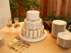 50TH CAKE...Ivory buttercream and gold...Cinderella Cakes in Rancho Santa Margarita, CA