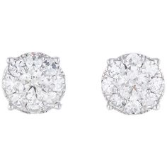 Pre-owned Diamond Cluster Earrings 2.00ctw ($3,625) ❤ liked on Polyvore featuring jewelry, earrings, accessories, bijoux, silver, 14k white gold earrings, white gold jewelry, 14k earrings, white gold jewellery and diamond cluster earrings