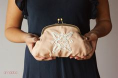Pastel pink purse clutch with handmade crochet by amalaba on Etsy, €35.00