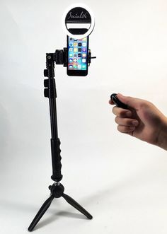 SOCIALITE Mini LED Photo Live Video Tabletop Ring Light Kit - Includes Mini Socialite Ring Light, Tripod Stand, Selfie Stick Monopod, Bluetooth Remote