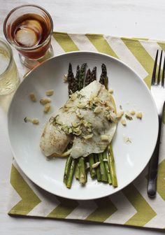 Garlic + asparagus steamed fish