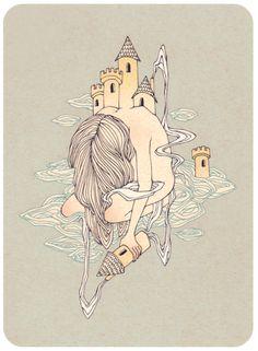 ¤ Me siento tan vacía sin ti, tu ausencia me pesa, mi boca te extraña, mi corazón te llama y mi cuerpo te reclama, esperando a que regreses y me digas que me extrañas.  § cloud castles by rhuu.deviantart.com on @deviantART