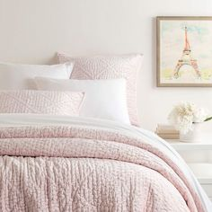 Soft and inviting quilted velvet bedding in Rose Pink tones. Parisienne Rose Pink collection from Pine Cone Hill at J Brulee Home. Cute Bedding, Teen Bedding, Quilt Bedding, Bedding Sets, Velvet Slippers, Velvet Quilt, Pink Quilts, Queen Quilt, Girls Bedroom