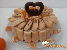 Recept za Šarlotu za zaljubljene. Za spremanje poslastice neophodno je pripremiti mandarine, piškote, šećer, slatku pavlaku, želatin, čokoladu.