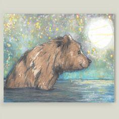 Fun Indie Art from BoomBoomPrints.com! #teddybear #watercolor #artist #art #bear #boomboomprints #brownbear #fireflies https://www.boomboomprints.com/Product/buffykaufmanart/Fireflies/Art_Prints/8x10_Print/