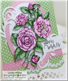 Simply Camellias stamp set by Power Poppy, card design by Leslie Miller
