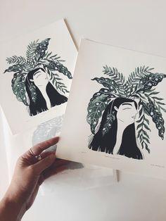 'Plants on my Mind' fine art print. My Mind, Gouache, Watercolor Art, Fine Art Prints, Illustration Art, Mindfulness, Cold, Printed, Plants