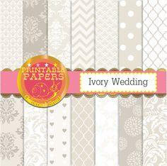 Ivory wedding digital paper 'Ivory Wedding' patterned white and ivory…