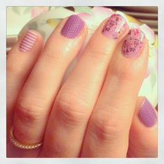 Mix n' Match your Jamberry Nail wraps! Orchid Skinny, Purple Herringbone and Orchid Bouquet bekahv.jamberrynails.net
