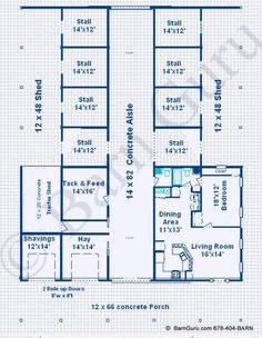 8 Stall Horse Barn With Living Quarters - Design Plan - Ga Horse Barn Builder