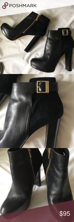 """Michael Kors black booties, size 7.5 Michael Kors black leather & suede booties, size 7.5. Heel is 4.5"""" -only worn once! In excellent condition- no scuffs on leather! MICHAEL Michael Kors Shoes Ankle Boots & Booties"""