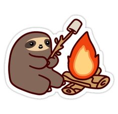 """Campfire Sloth"" Stickers by SaradaBoru | Redbubble"