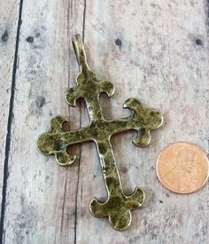 Antiqued Gold Hammered Cross Pewter Pendant
