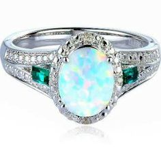 Lab-Created Opal, Emerald & Diamond Ring in Sterling Silver
