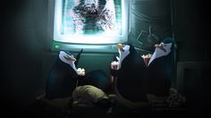 Penguins as always this time they are watching horror movies Made in: Ps Tools: wacom tablet Penguins of madagascar belongs to Dreamworks animation . You'll miss the best part Madagascar Movie, Penguins Of Madagascar, Dreamworks Animation, Horror Movies, Aquarium, Good Things, Deviantart, Fictional Characters, Brother