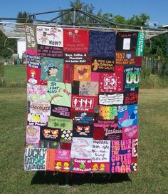 Tshirt Blanket Quilt Upcycled Recycled Tshirts with sayings by CDChyld, on Etsy