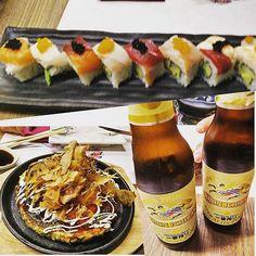 Trío de ases en #hanakura. Sushi okonomiyaki y kirin.  #Repost @nanskiy  Antojo desesperado de #okonomiyaki y #sushi #hanakura