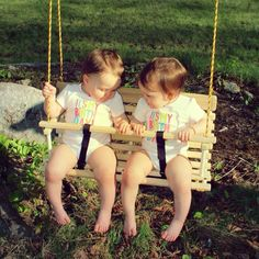 Rope tree swing for two / toddlers / children / twin gift