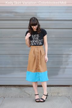 megan nielsen design diary: Kelly Skirt Variation : Colorblocked Midi Length