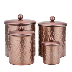 Designed with durability and elegance in mind, this canister set is constructed of durable stainless steel with a Rose Gold finish. With their Embossed Diamond design and generous storage capacities, these Canisters are the perfect countertop storage Rose Gold Room Decor, Rose Gold Rooms, Stainless Steel Canisters, Kitchen Canister Sets, Gold Bedroom, At Home Furniture Store, Copper Kitchen, Glass Kitchen, Home Decor Accessories
