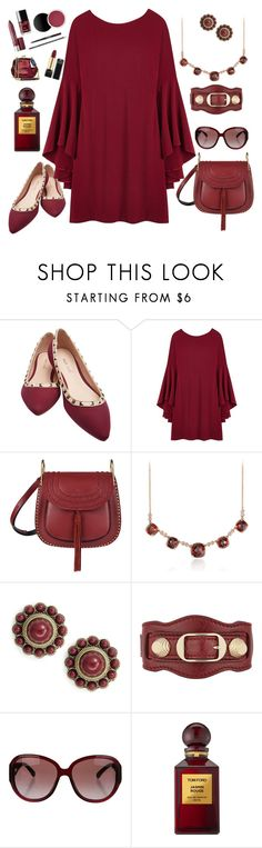 """STUDDED MARSALA"" by kmaryk ❤ liked on Polyvore featuring Wet Seal, Chloé, Blue Nile, Robert Rose, Balenciaga, Chanel and Tom Ford"