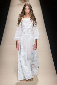 Wedding Dresses for the Fashion Obsessed: Boho brides, this gorgeous dress by Alberta Ferretti is calling your names.
