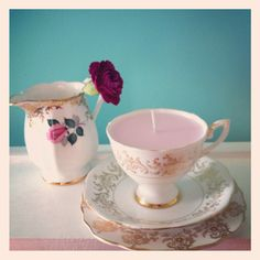 Wedding table decoration teacup candles by Kookie Candles. Party Favors, Baby shower girl