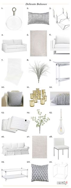 delicate balance interior design product roundup, get the look, clear glass, taupe, mauve, white, pale gray, light gold, brass, spring green, white slipcovered sofa, white knit throw blanket, interior styling ideas, interior design inspiration