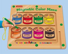 Amanda would love this....guide the balls through the maze and drop them into their matching paint cans...great for recognizing colors and fine motor skills!!