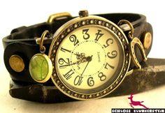GLÜCKS SCHMIED Echtleder Unisex retro Armbanduhr  von Schloss Klunkerstein - Uhren, von Hand gefertigter Unikat - Schmuck aus Naturmaterialien, Medaillons, Steampunk -, Shabby - & Vintage - Schätze, sowie viele einzigartige und liebevolle Geschenke ... auf DaWanda.com