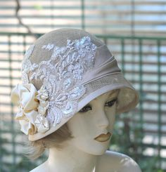 Summer 20's Cloche Bridal Wedding Hat in Soft Golden  by BuyGail,