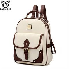 cde9931ec307a BAIJIAWEI 2017 New PU Leather Women Backpack Casual School Bags For  Teenagers Girls Travel BackPacks High Quality Shoulders Bag-in Backpacks  from Luggage ...