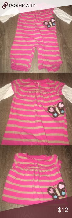 Pink long sleeve one piece outfit with butterfly Adorable lil one piece outfit! Cute butterfly decor and white long sleeves. Brand is Just One You made by Carters Carter's One Pieces