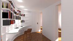 Intégration d'un bureau / bibliothèque dans un espace difficile à aménager! Mini Loft, Dining Area, Bookshelves, Interior Design, Interior Ideas, Desk, Windows, Studio, Wall