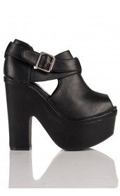 Emmet Chunky Platform Cut Out Peep Toe Shoe Boots in Black Leather 20