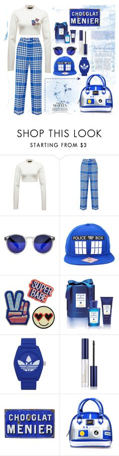 """""""White and blue"""" by nelviaaurora ❤ liked on Polyvore featuring Puma, Jacquemus, Spitfire, Hot Topic, Acqua di Parma, adidas, Estée Lauder and Loungefly"""