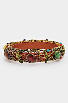 Althea Bracelet - Polished Wood Encased in Gorgeousness of Crystals ==