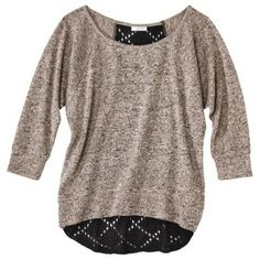 Xhilaration® Juniors Pointelle Back Sweater - both of the colors are good, but i like this one, its very Fall-ish