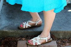 """Vintage - BASS """"Sunjuns"""" White Leather Crisscrossed Buckled Sandals (Size 8M) by TheCurvyElle, $30.00"""
