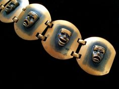 Comedy Tragedy Bracelet Vintage Copper Link by TheCopperCat
