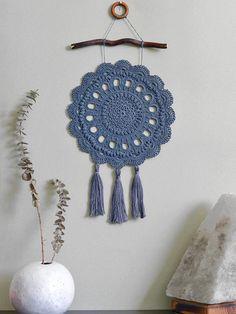Dream catcher Gray bohemian dream catcher Boho style wall decor Rustic wedding decoration Country style crochet decor Crochet tapestry