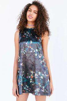 Kimchi Blue Carmine Black Satin Frock Mini Dress