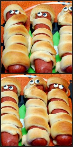 SUPER EASY! WRAP PILLSBURY CRESCENT ROLLS AROUND HOT DOGS. BAKE ACCORDING TO THE PACKAGE DIRECTIONS. I BOUGHT CANDY EYES AND ATTACHED WITH MUSTARD! You May Love These, Too! XOXOPILLSBURY CRESCENT ROLLS STUFFED WITH MINI MILKYWAYSHALLOWEEN EVE!LEFT OVER HALLOWEEN CANDYSNICKERS CARAMEL STICKY BUNSEdit Related Posts